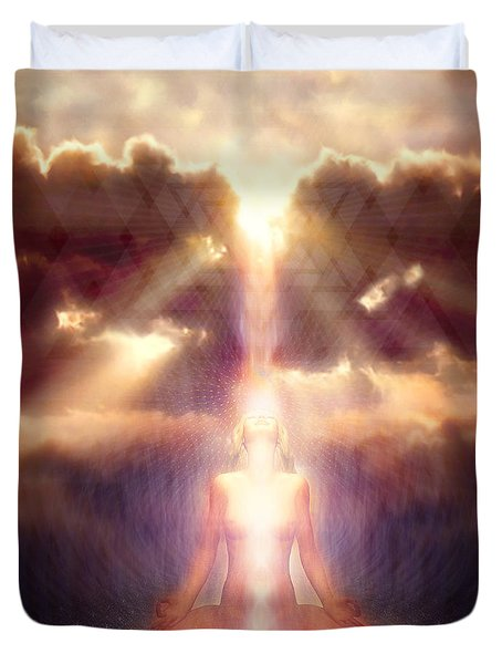 Duvet Cover featuring the painting Light Fall by Robby Donaghey