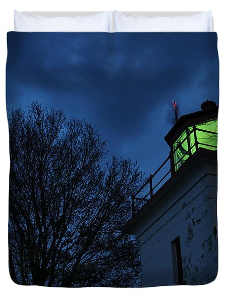 Lighthouse At Night Duvet Cover by Joe  Ng