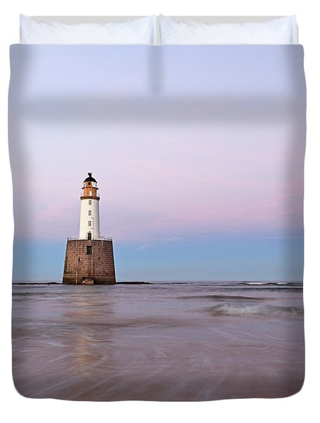 Duvet Cover featuring the photograph Lighthouse Sunset by Grant Glendinning