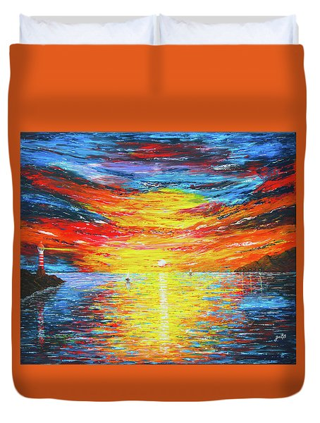 Duvet Cover featuring the painting  Lighthouse Sunset Ocean View Palette Knife Original Painting by Georgeta Blanaru