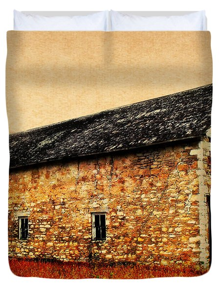 Lime Stone Barn Duvet Cover by Julie Hamilton