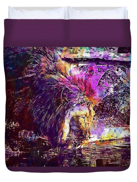 Duvet Cover featuring the digital art Lion Cat Zoo Male Big Cat Africa  by PixBreak Art