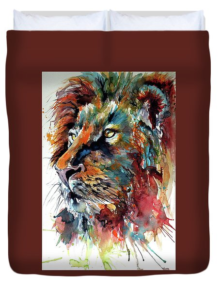 Duvet Cover featuring the painting Lion by Kovacs Anna Brigitta