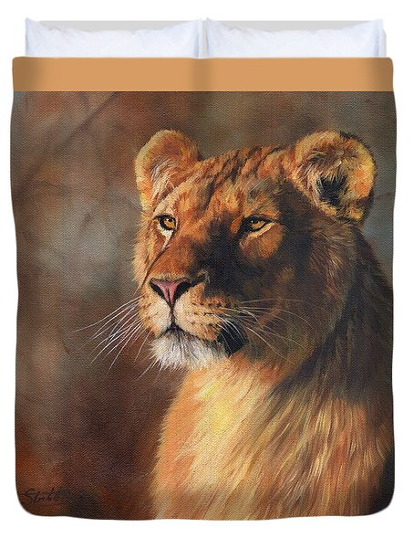 Duvet Cover featuring the painting Lioness Portrait by David Stribbling
