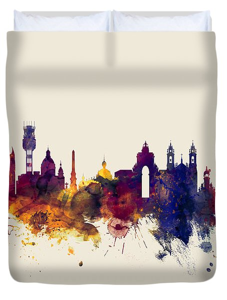 Lisbon Portugal Skyline Duvet Cover
