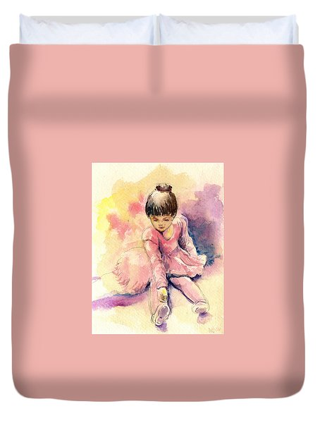 Duvet Cover featuring the painting Little Ballerina by Asha Sudhaker Shenoy