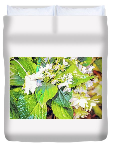 Duvet Cover featuring the photograph Little Orchids by Mindy Newman