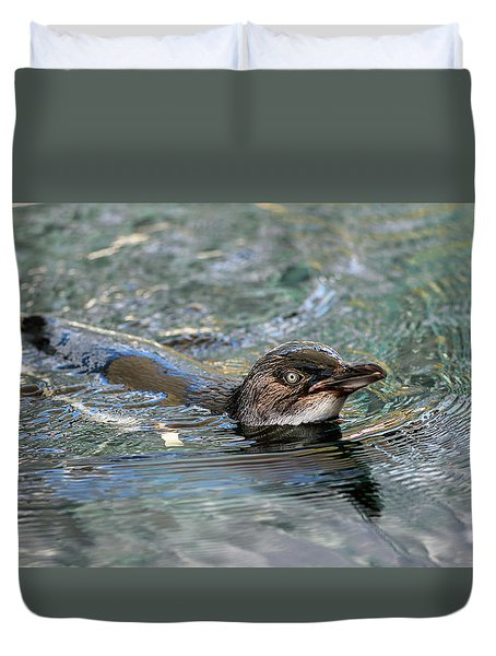 Little Penguin In The Water Duvet Cover
