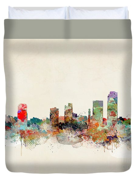 Duvet Cover featuring the painting Little Rock Arkansas by Bri B