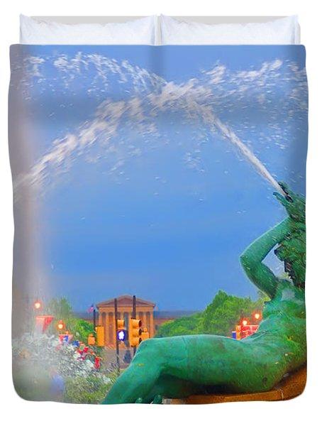 Logan Circle Fountain 1 Duvet Cover by Bill Cannon