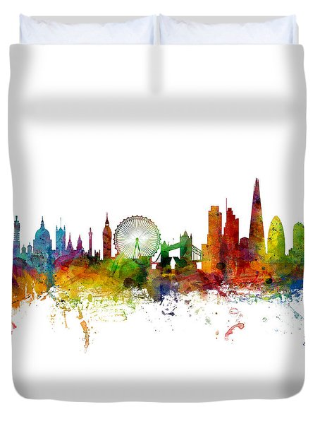 London England Skyline Panoramic Duvet Cover by Michael Tompsett