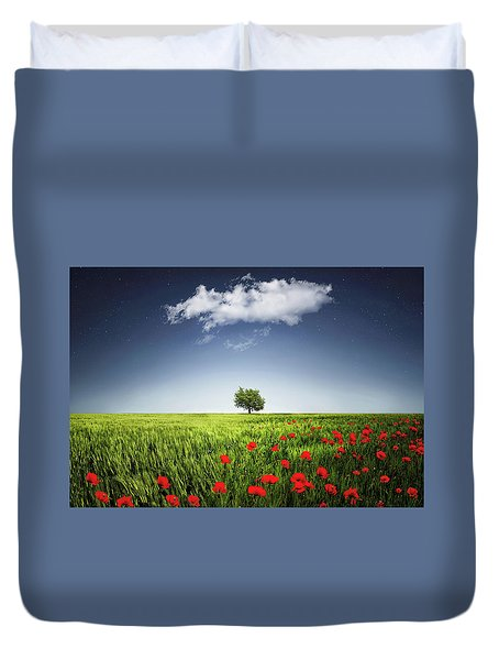 Lone Tree A Poppies Field Duvet Cover