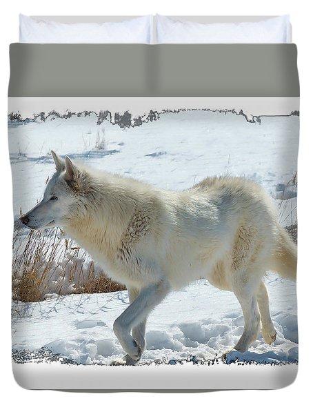 Lone White Wolf Duvet Cover