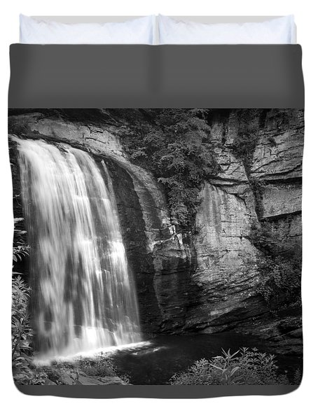 Duvet Cover featuring the photograph Looking Glass Falls by Howard Salmon