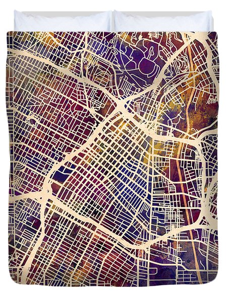Los Angeles City Street Map Duvet Cover