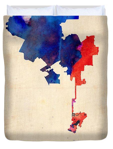 Los Angeles Watercolor Map 1 Duvet Cover