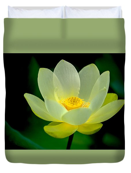 Duvet Cover featuring the photograph Lotus Blossom by Tyson and Kathy Smith