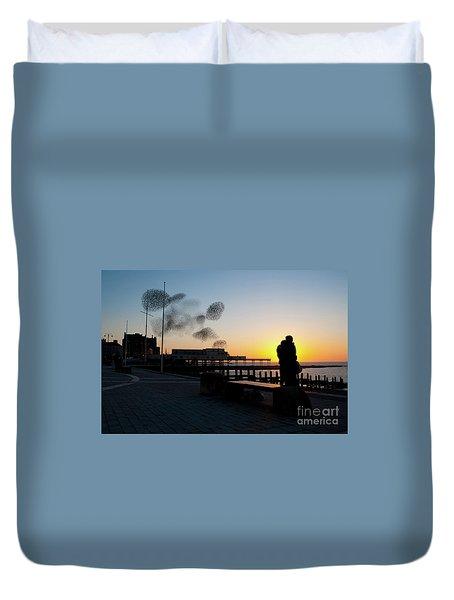 Love Birds At Sunset Duvet Cover