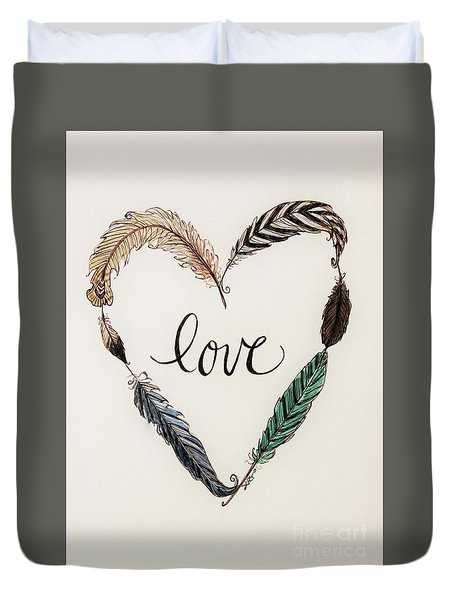 Duvet Cover featuring the painting Feathers Of Love by Elizabeth Robinette Tyndall