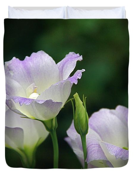 Duvet Cover featuring the photograph Lovely Lisianthus by Byron Varvarigos