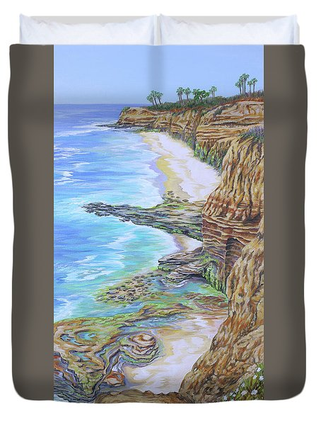Low Tide Sunset Cliffs Duvet Cover
