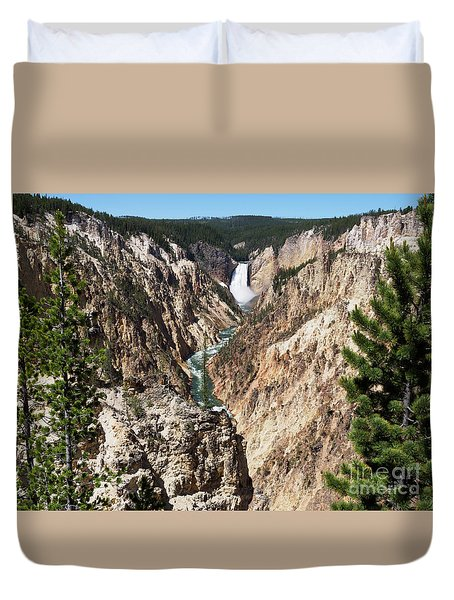 Lower Falls From Artist Point In Yellowstone National Park Duvet Cover by Louise Heusinkveld