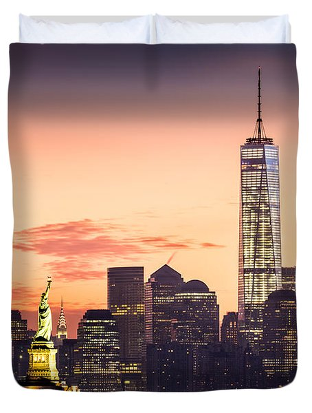 Lower Manhattan And The Statue Of Liberty At Sunrise Duvet Cover by Mihai Andritoiu
