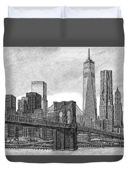 Lower Manhattan Skyline Duvet Cover