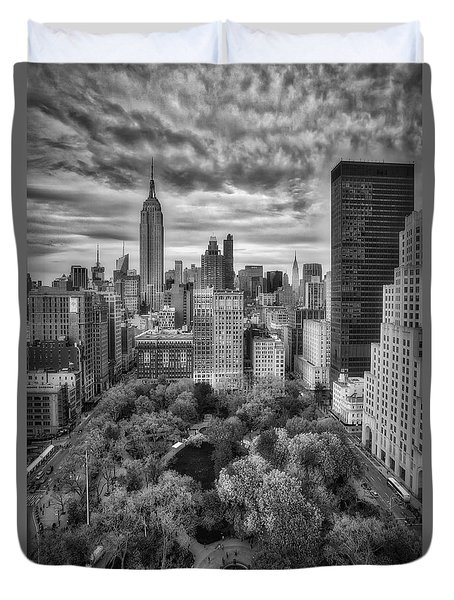 Madison Square Park Aerial View Duvet Cover by Susan Candelario