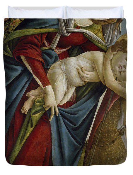 Madonna And Child And The Young St John The Baptist Duvet Cover