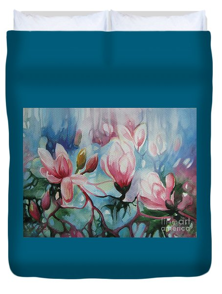Duvet Cover featuring the painting Magnolia by Elena Oleniuc
