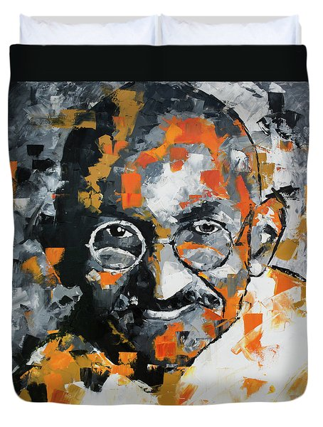 Duvet Cover featuring the painting Mahatma Gandhi by Richard Day