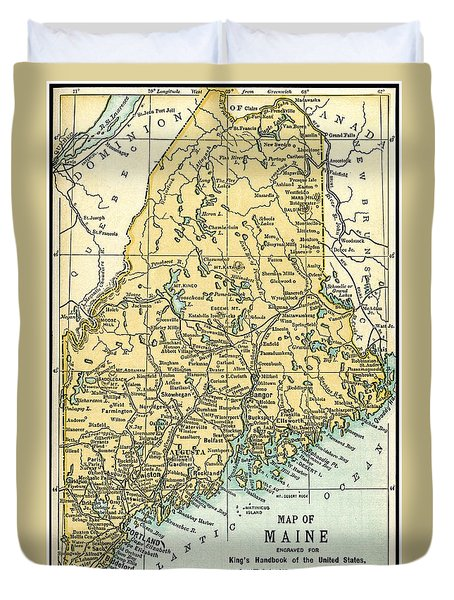 Maine Antique Map 1891 Duvet Cover