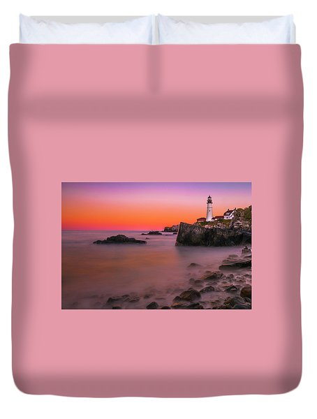 Duvet Cover featuring the photograph Maine Portland Headlight Lighthouse At Sunset by Ranjay Mitra