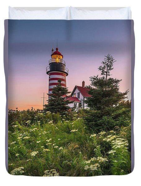 Duvet Cover featuring the photograph Maine West Quoddy Head Light At Sunset by Ranjay Mitra