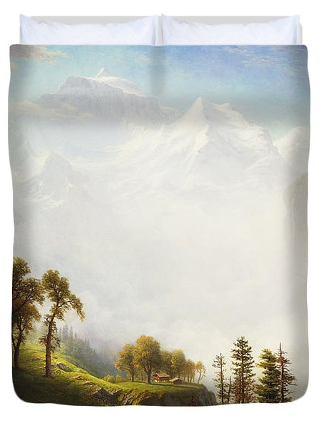 Majesty Of The Mountains Duvet Cover by Albert Bierstadt