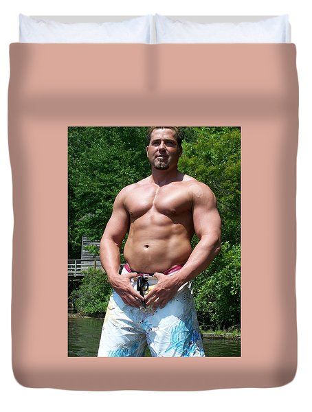 Duvet Cover featuring the photograph Male Muscle Art by Jake Hartz