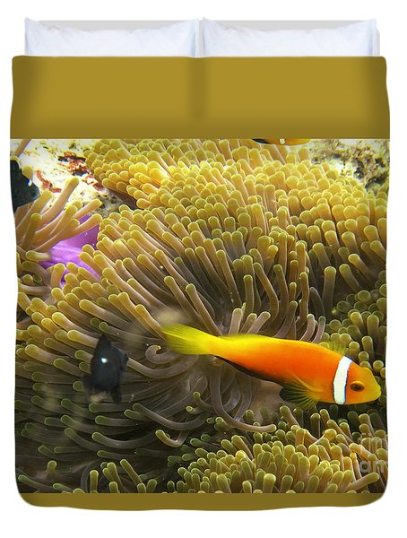 Duvet Cover featuring the photograph Maledives Clown Fish by Juergen Held