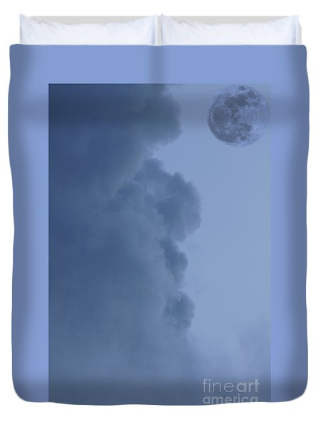 Man And The Moon Duvet Cover