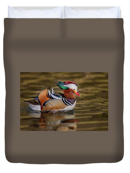 Duvet Cover featuring the photograph Mandarin Duck  by Susan Candelario
