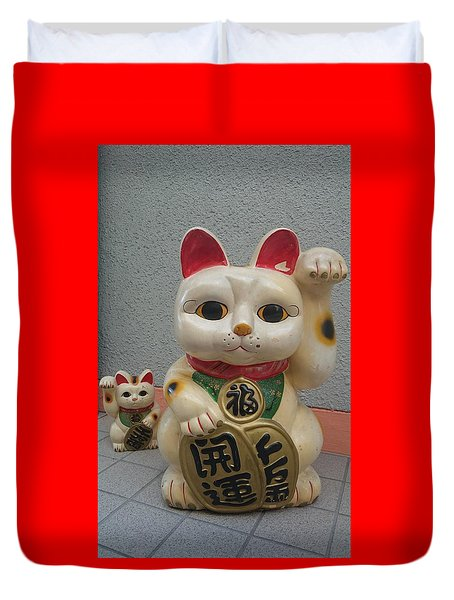 A Figure Of A Beckoning Cat, Called 'manekineko' Duvet Cover