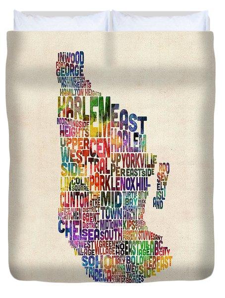 Manhattan New York Typographic Map Duvet Cover
