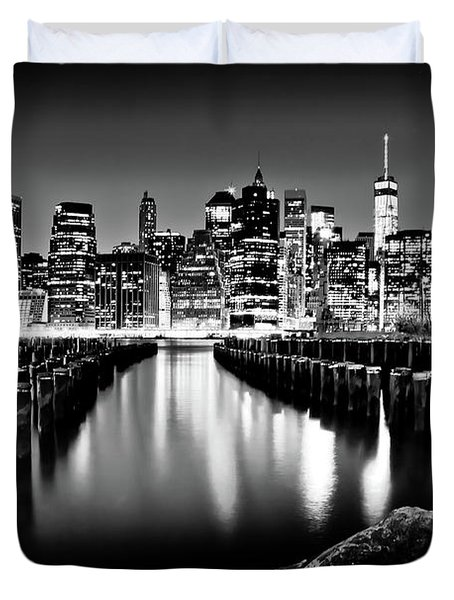 Duvet Cover featuring the photograph Manhattan Skyline At Night by Az Jackson