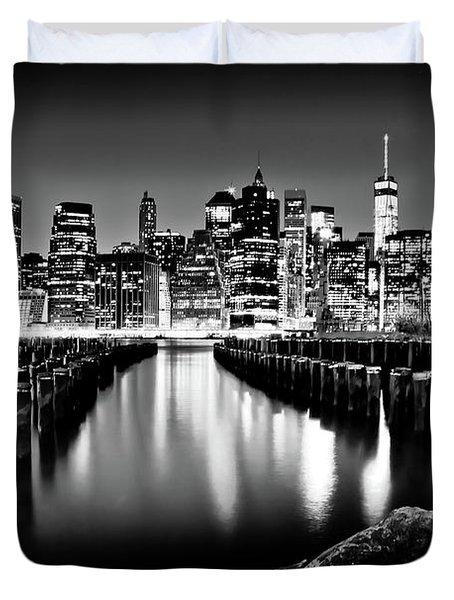Manhattan Skyline At Night Duvet Cover by Az Jackson