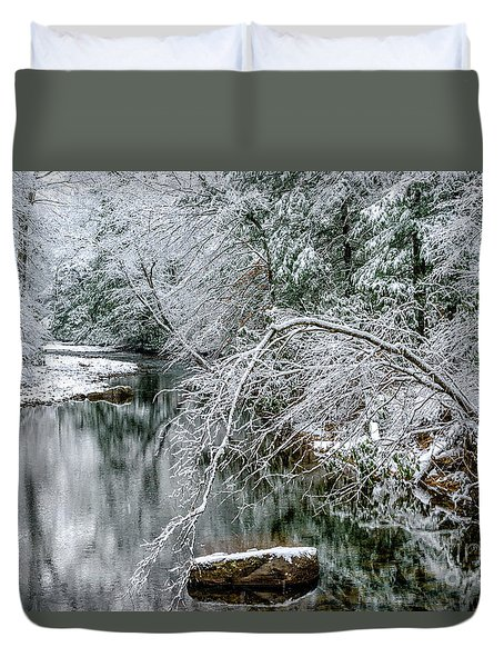Duvet Cover featuring the photograph March Snow Cranberry River by Thomas R Fletcher