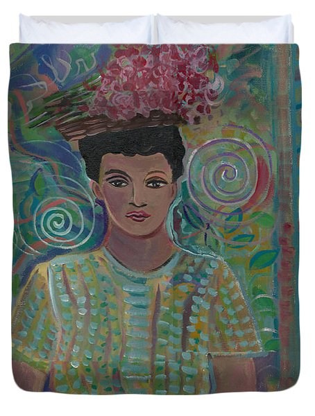 Duvet Cover featuring the painting Maria by John Keaton