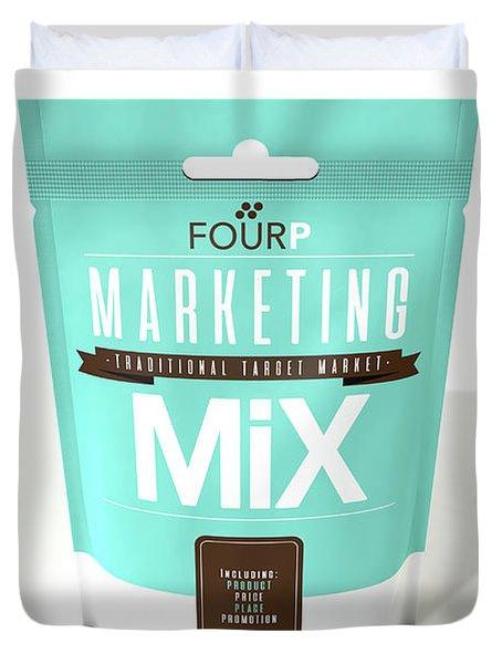 Marketing Mix 4 P's Duvet Cover