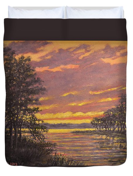 Marsh Sketch # 7 Duvet Cover by Kathleen McDermott