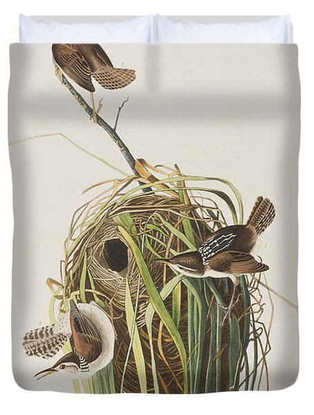 Marsh Wren  Duvet Cover by John James Audubon