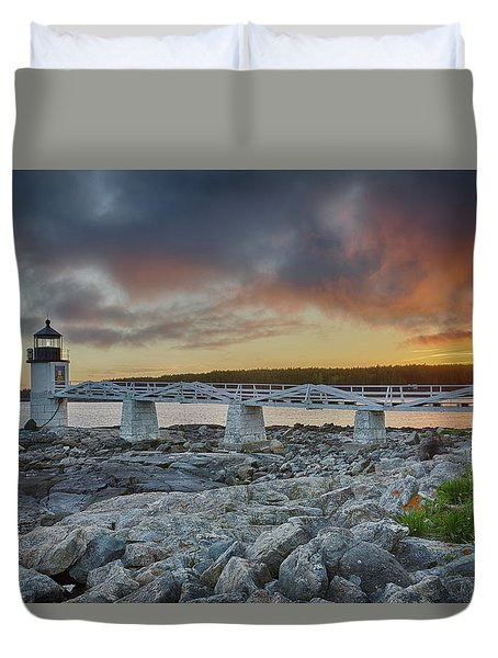 Marshall Point Lighthouse At Sunset, Maine, Usa Duvet Cover
